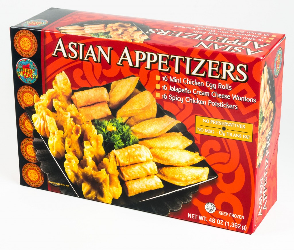 Asian Appetizers : 16 Mini Chicken Egg Rolls, 16 Jalapeno Cream Cheese Wontons, 16 Chicken Potstickers; 48 oz total