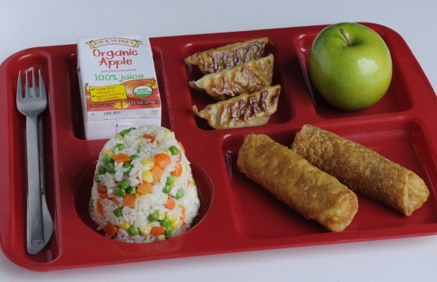 1. chicken potstickers, vegetable rice and whole wheat egg rolls for a lunch tray in school